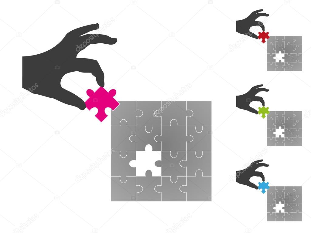 Silhouette hand placing missing jigsaw puzzle piece in 3D in squ ...