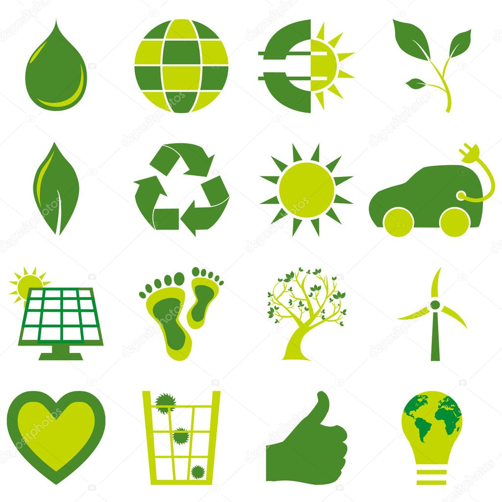 Set of bio eco environmental related icons and symbols