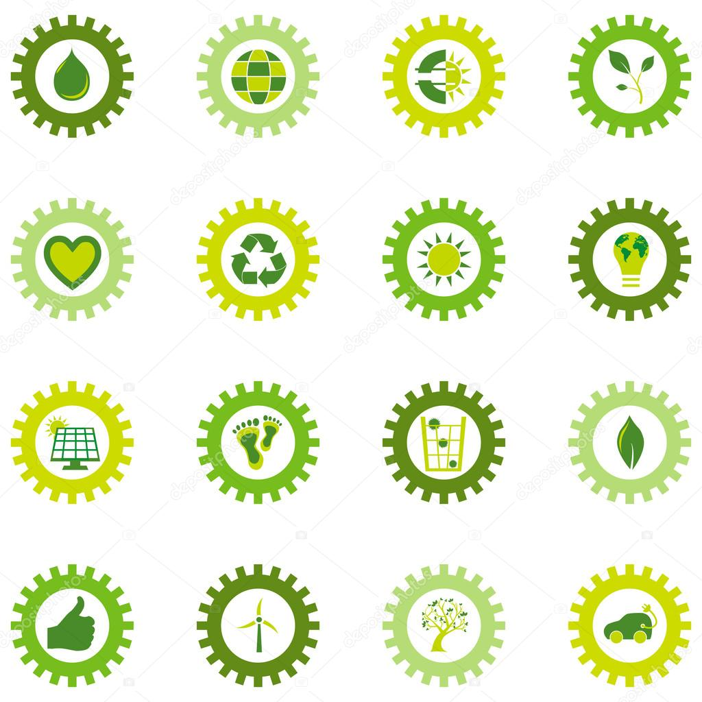 Set of gear wheel icons from bio eco and environmental symbols