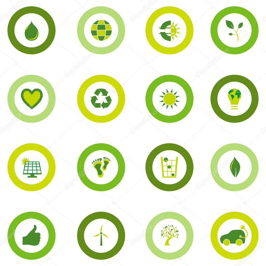 Set of round icons filled with bio eco environmental symbols