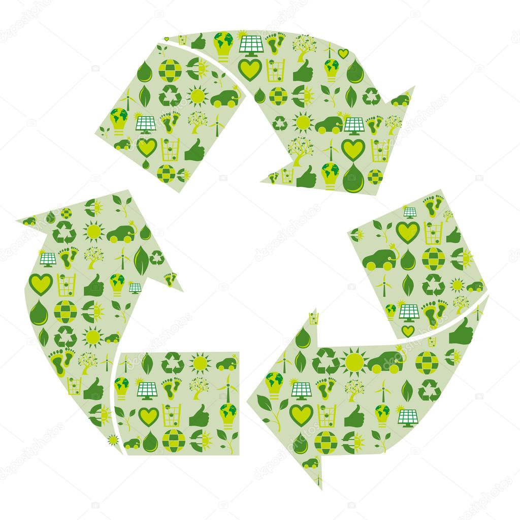 Recycling symbol filled with bio eco environmental related icons