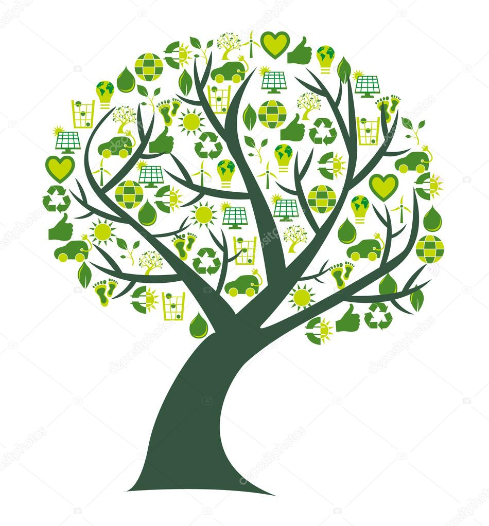 Conceptual tree with bio eco and environmental symbols and icons
