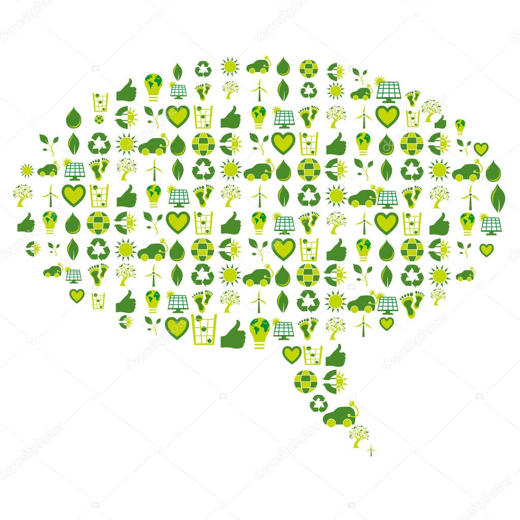 Speech bubble filled with bio eco environmental related icons an