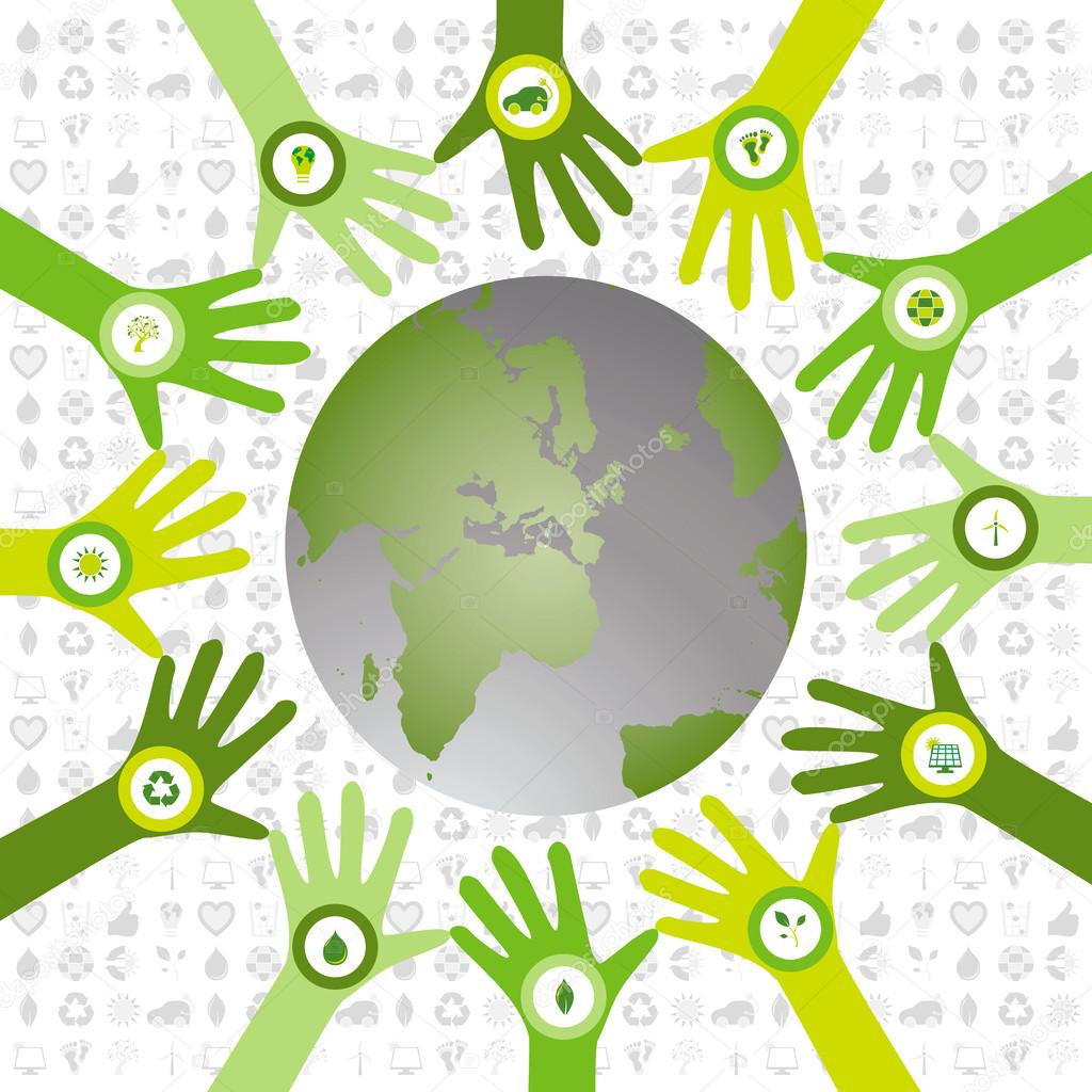 Set of hands with bio icons waiving to green environmental world