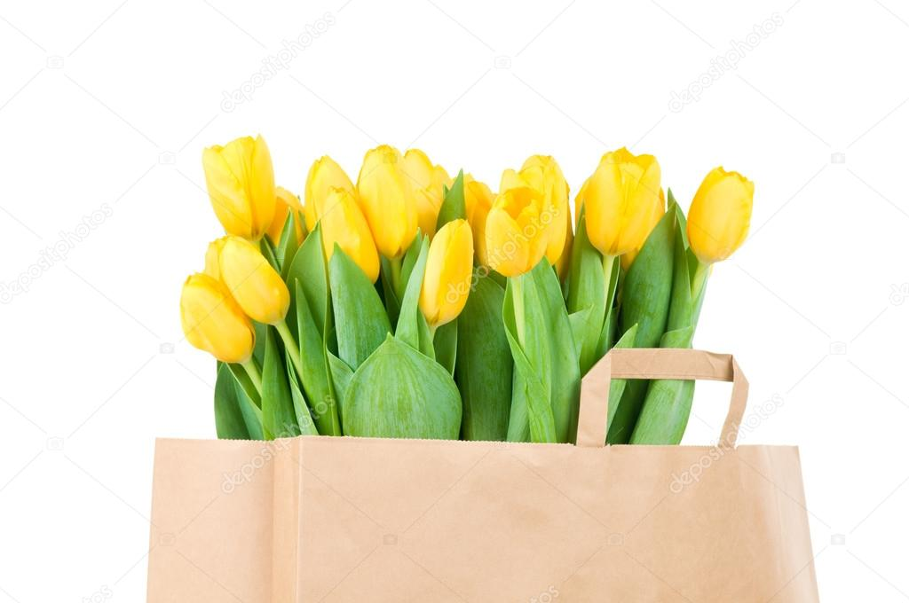 De Papieren Zak : Tulpen in de papieren zak u stockfoto vitaly r