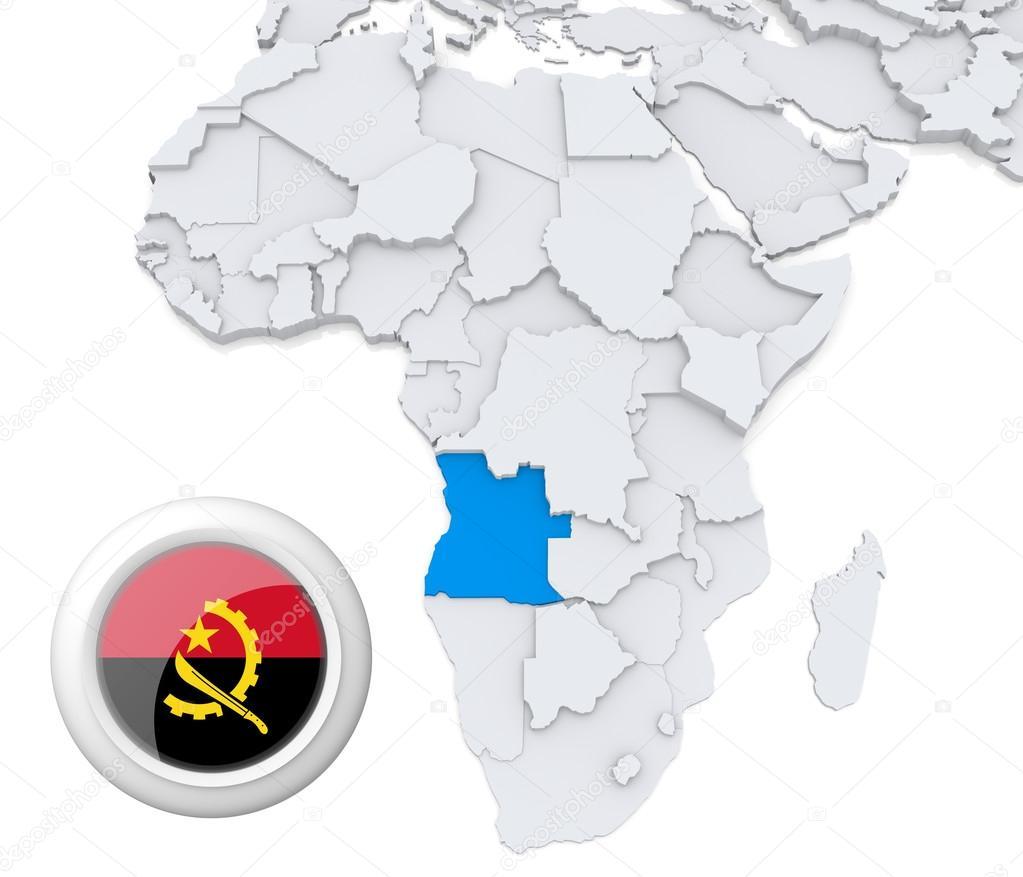 Angola on Africa map — Stock Photo © kerdazz7 #28736323