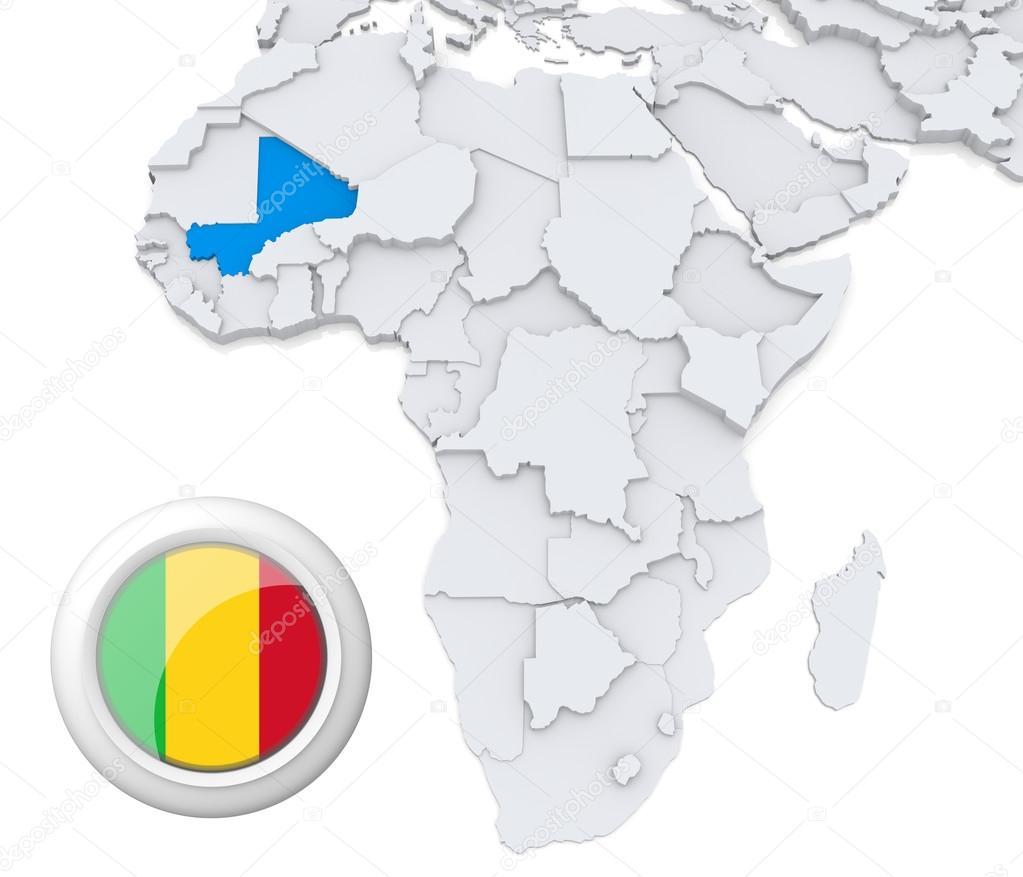 Mali on Africa map — Stock Photo © kerdazz7 #28737223