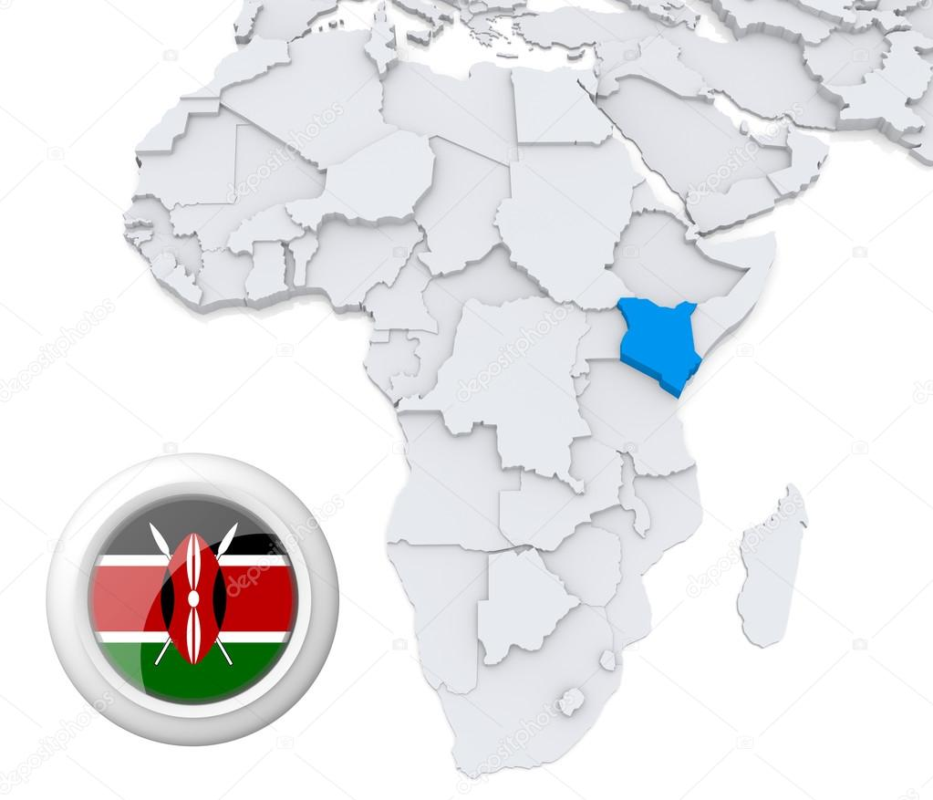 Kenya on africa map stock photo kerdazz7 28738893 3d modeled map of africa with highlighted state of kenya with national flag photo by kerdazz7 gumiabroncs Choice Image