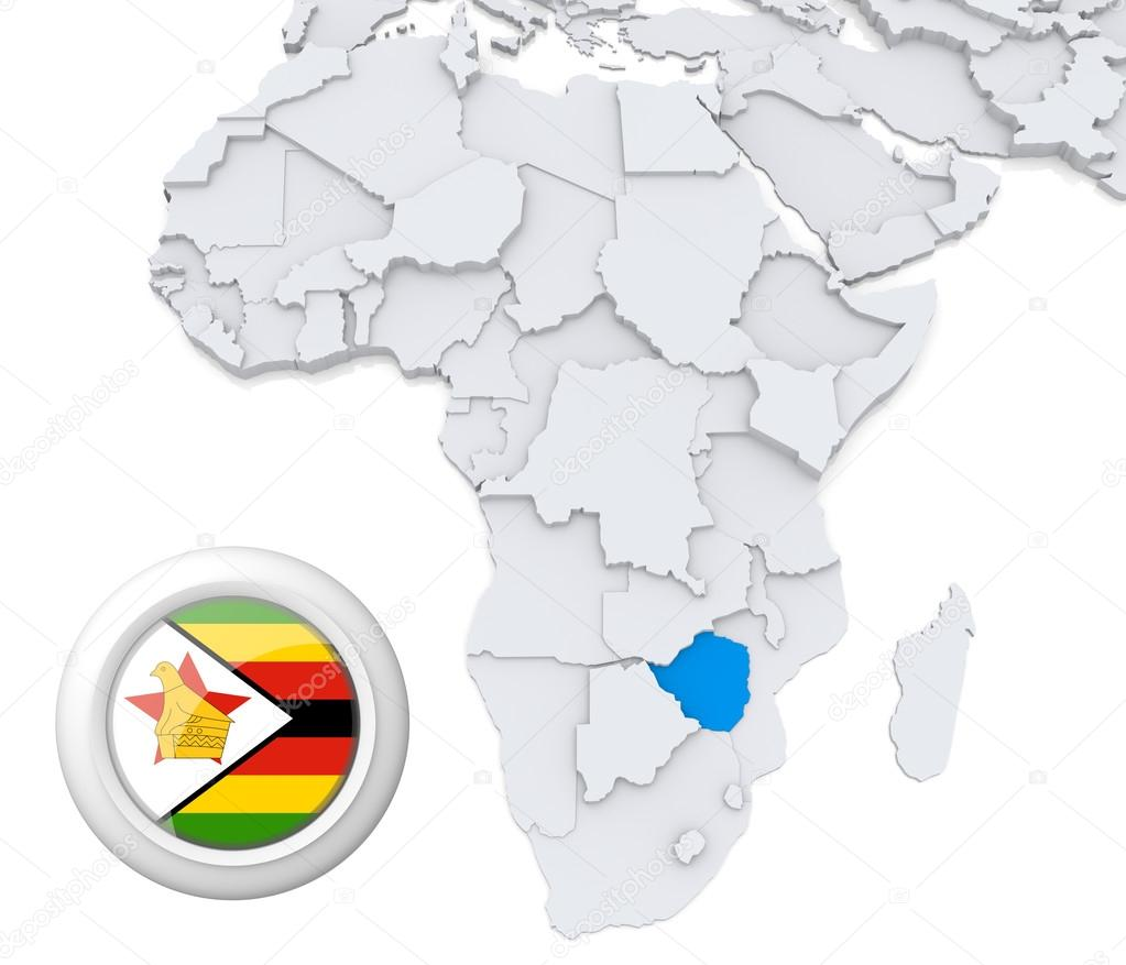 Map Of Africa Showing Zimbabwe.Zimbabwe On Africa Map Stock Photo C Kerdazz7 28739963