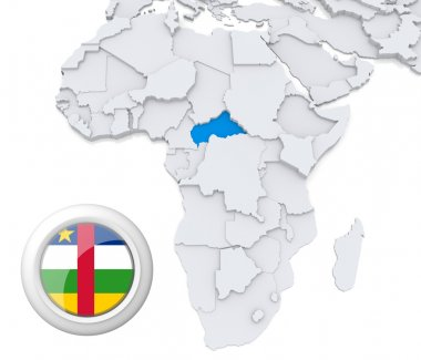 Central African republic on Africa map