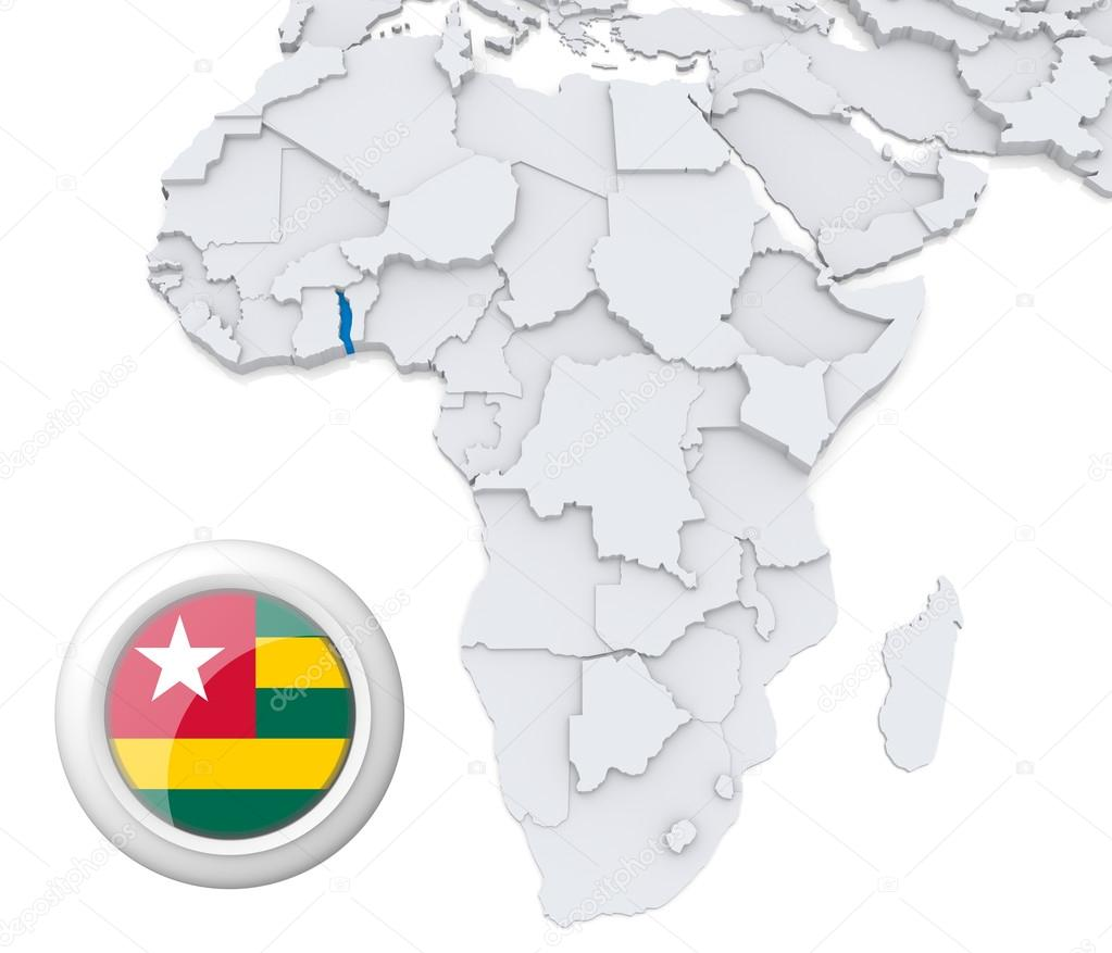 Togo on africa map stock photo kerdazz7 28740113 3d modeled map of africa with highlighted state of togo with national flag photo by kerdazz7 gumiabroncs Image collections