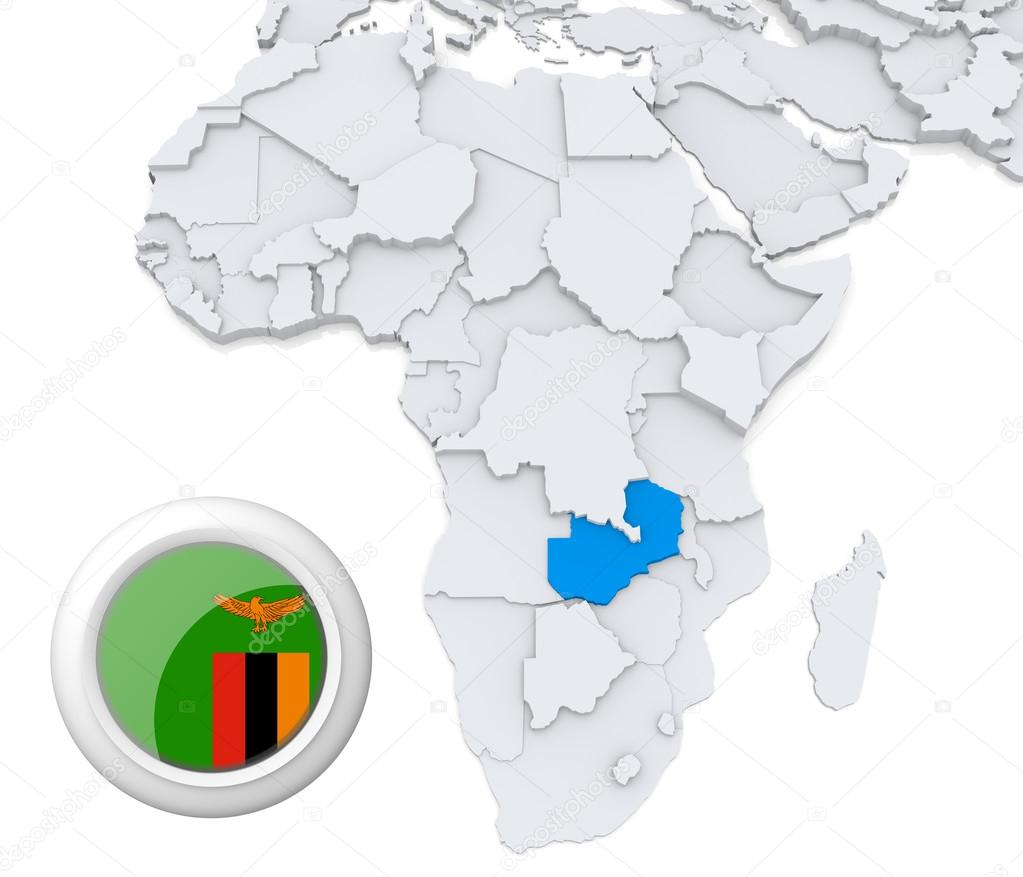 Zambia on Africa map — Stock Photo © kerdazz7 #28740327