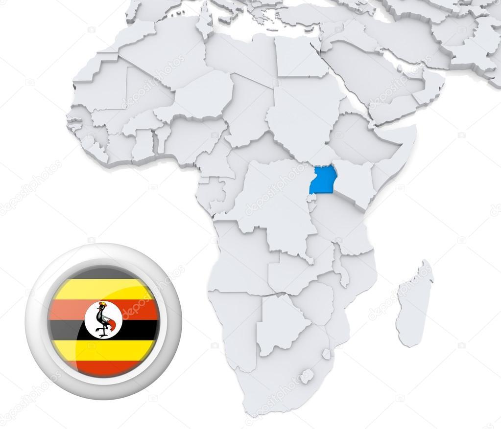 Uganda On Africa Map Stock Photo C Kerdazz7 28740359