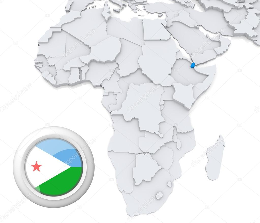 Djibouti on Africa map — Stock Photo © kerdazz7 #28740383