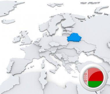 Belarus on map of Europe