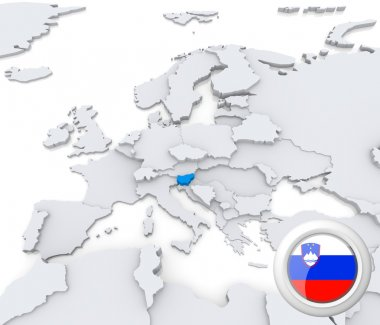 Slovenia on map of Europe
