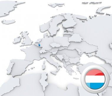 Luxembourg on map of Europe