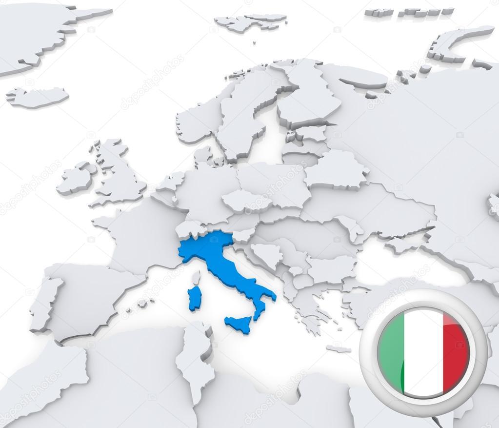 Italy On Map Of Europe Stock Photo C Kerdazz7 29042293