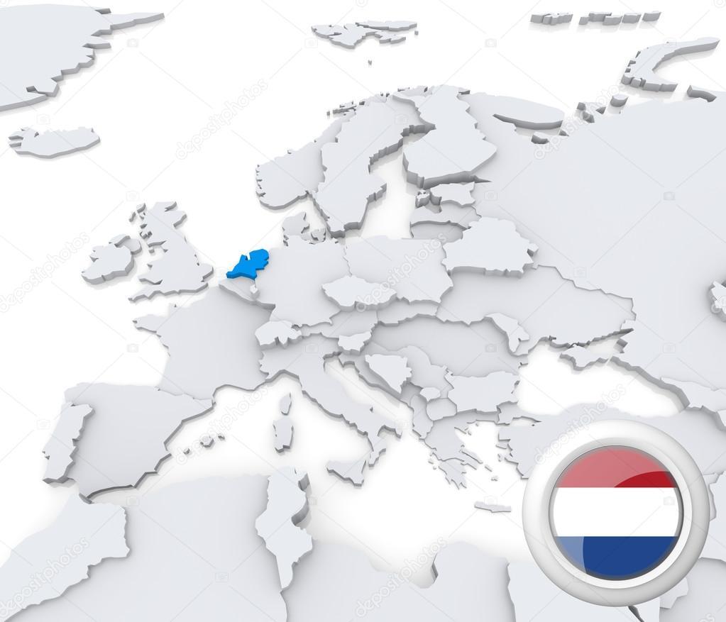 Netherlands On Map Of Europe Stock Photo C Kerdazz7 29046285