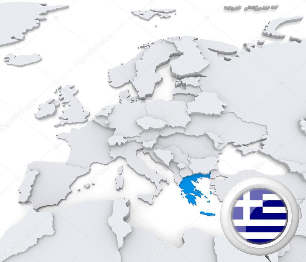 Karta Europa Grekland.Grekland Pa Europas Karta Stockfotografi C Kerdazz7 29049635