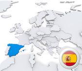 Fotografie Španělsko na mapě Evropy