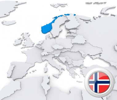 Norway on map of Europe
