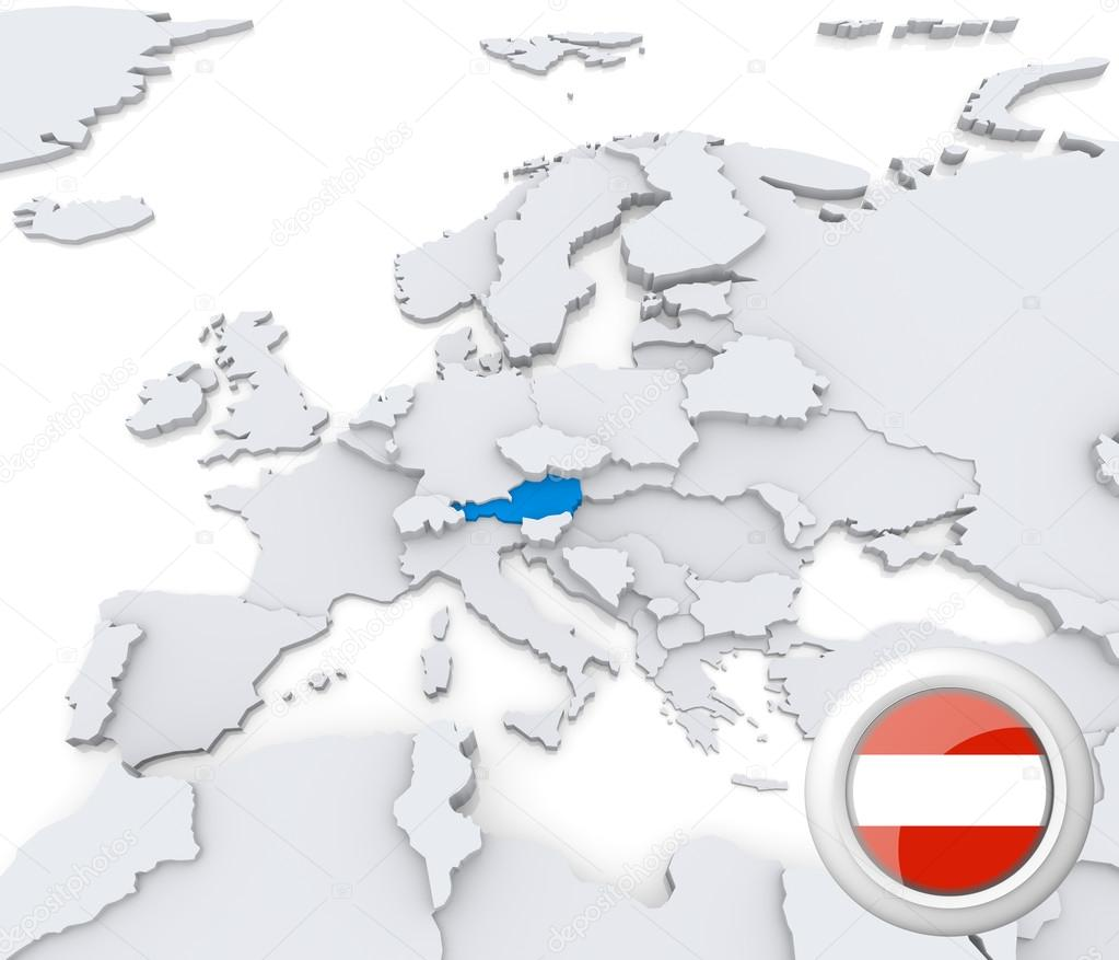 Austria On Map Of Europe Stock Photo Kerdazz - Austria europe map
