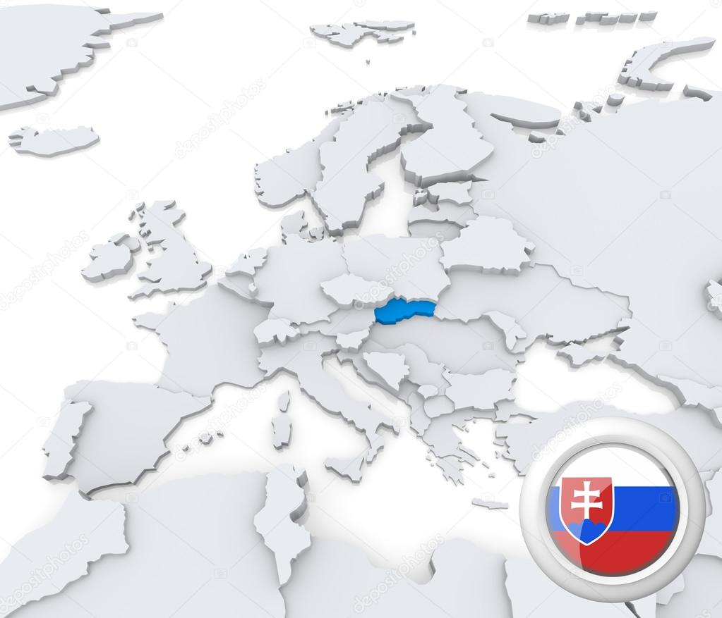 Slovakia On Map Of Europe Stock Photo C Kerdazz7 29059565