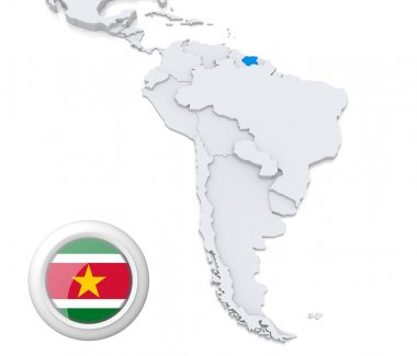 Suriname on a map of South America