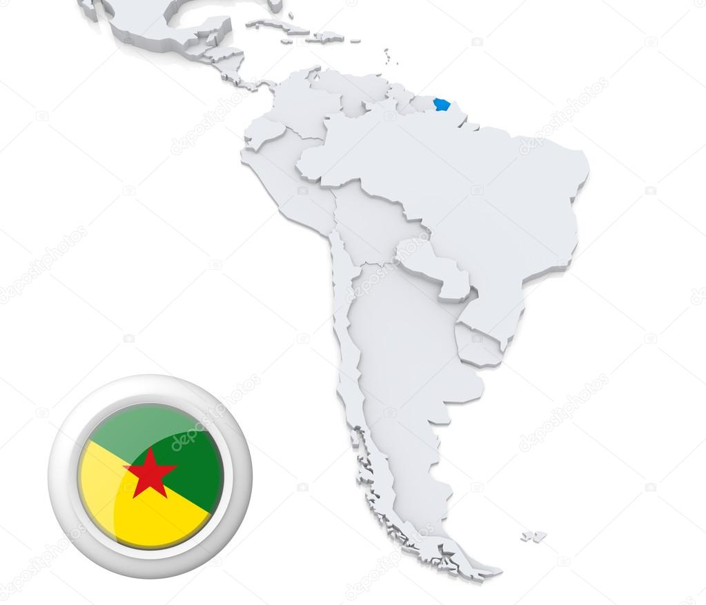 French Guiana On A Map Of South America Stock Photo Kerdazz - South america french guiana map
