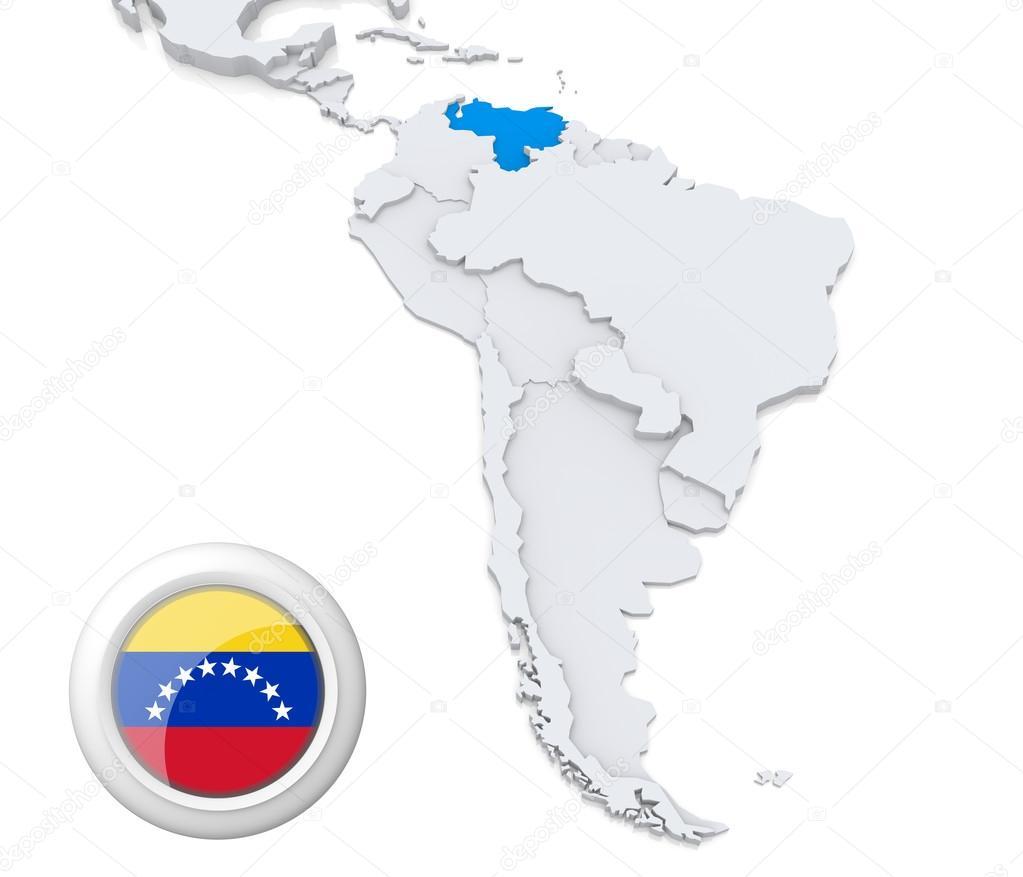 Venezuela on a map of South America — Stock Photo © kerdazz7 #29448221