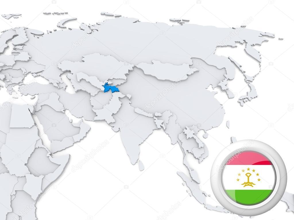 Tajikistan on map of Asia — Stock Photo © kerdazz7 #31335859