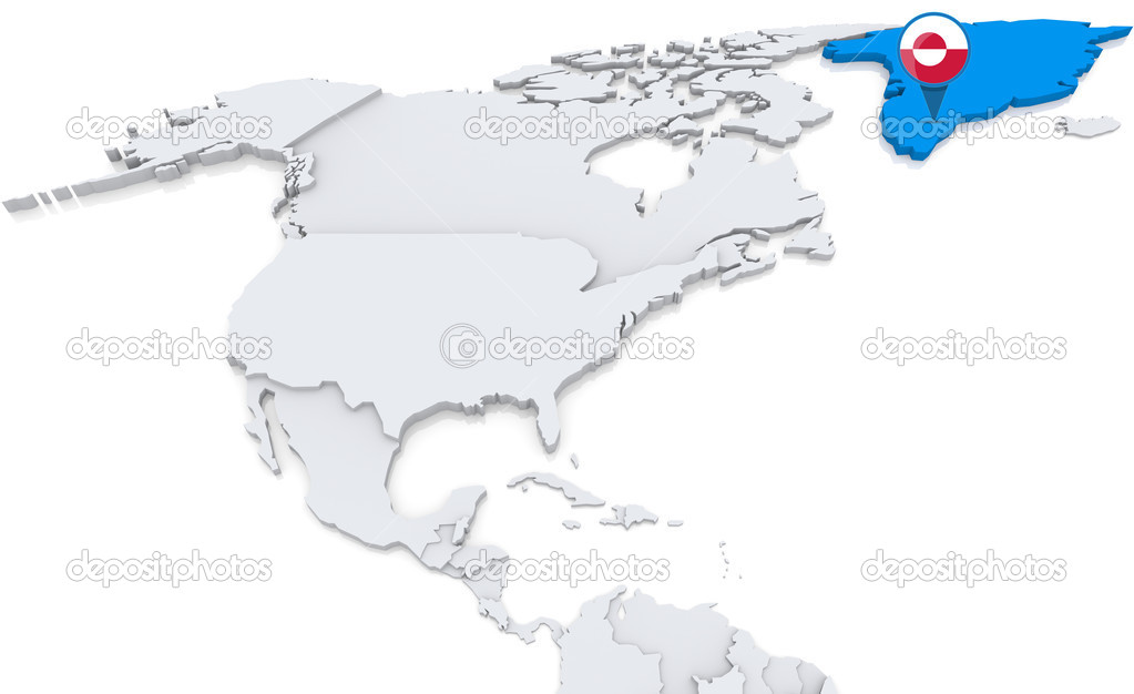 Greenland on a map of north america stock photo kerdazz7 50007373 highlighted greenland on map of north america with national flag photo by kerdazz7 gumiabroncs Images