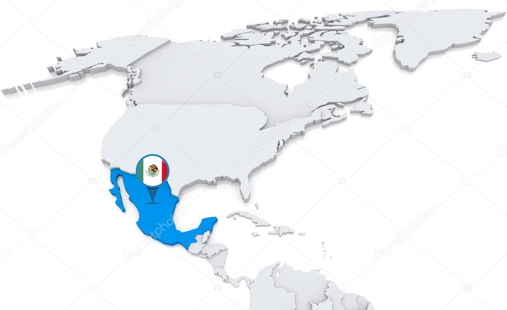 Mexico on a map of north america stock photo kerdazz7 50007425 highlighted mexico on map of north america with national flag photo by kerdazz7 gumiabroncs Image collections