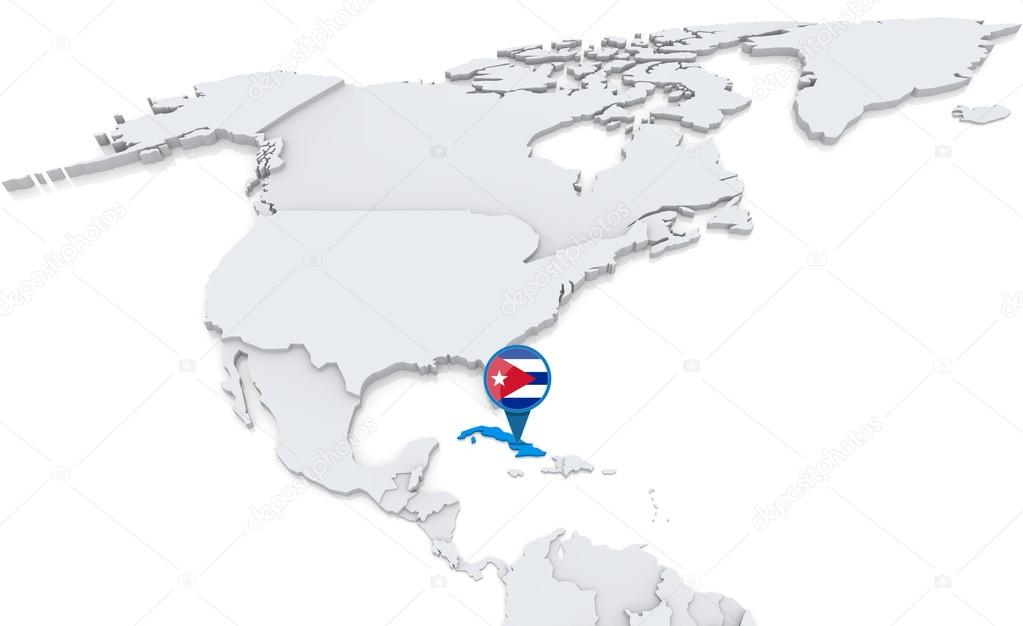 Cuba on a map of North America Stock Photo kerdazz7 50007571