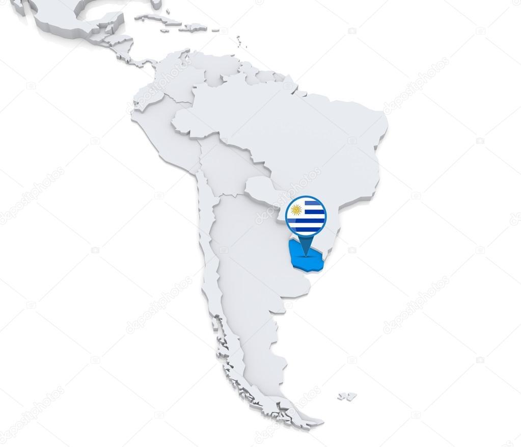Carte Amerique Latine Uruguay.Uruguay Sur Une Carte De L Amerique Du Sud Photographie Kerdazz7
