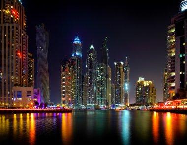 Dubai night skyscraper