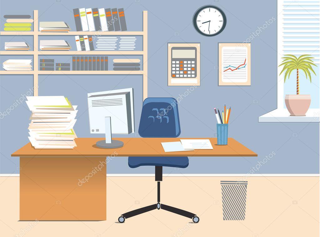 Interior Office Room Vector Illustration Stock Vector