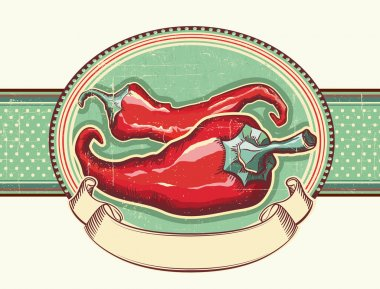 Vintage label with Red hot peppers.Vector illustration for text