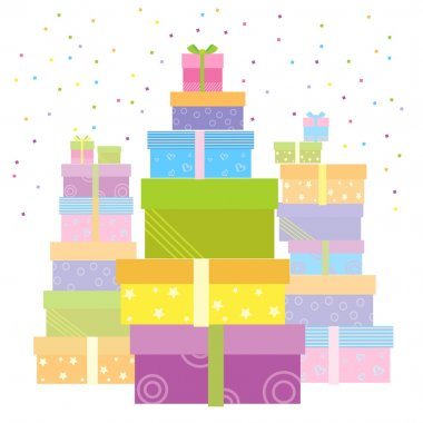 Gift boxes.Vector presents isolated on white