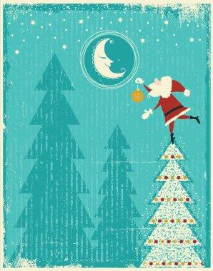 Vintage christmas card with Santa and nice moon.Vector tender ca