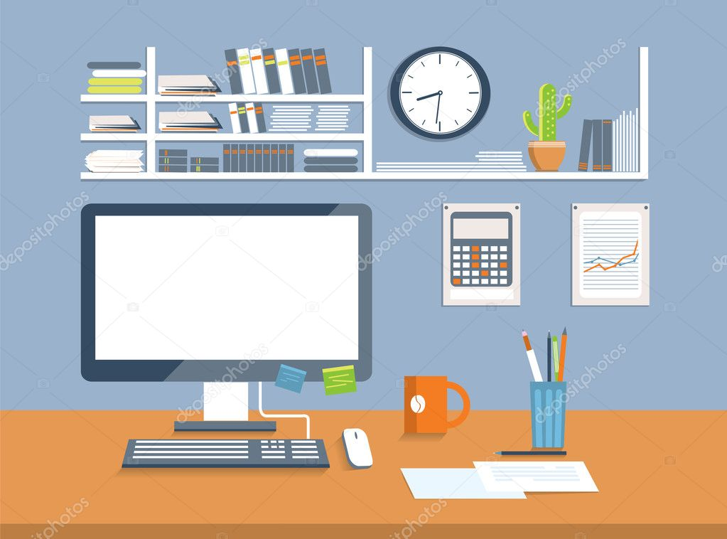 Interior office room flat design style stock vector for Office design vector