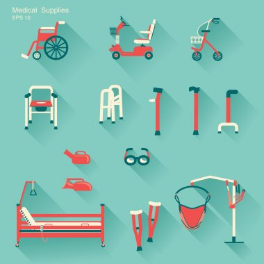 medical hospital equipment for disabled people.Vector illustrat