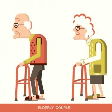 Elderly people with walking sticks