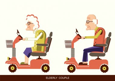 old people drive by mobility scooter