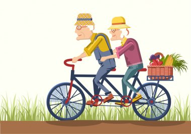 Old man and old woman  drive by bike.Vector couple gardeners