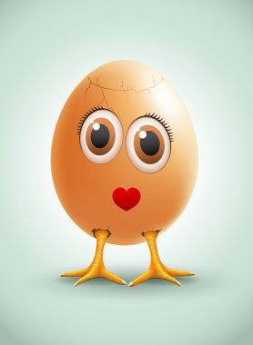Lady Egg. Vector female egg character