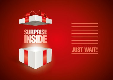 Vector surprise inside open gift box design template. Elements are layered separately in vector file. clip art vector