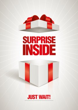 Vector surprise inside open gift box design template. Elements are layered separately in vector file. stock vector