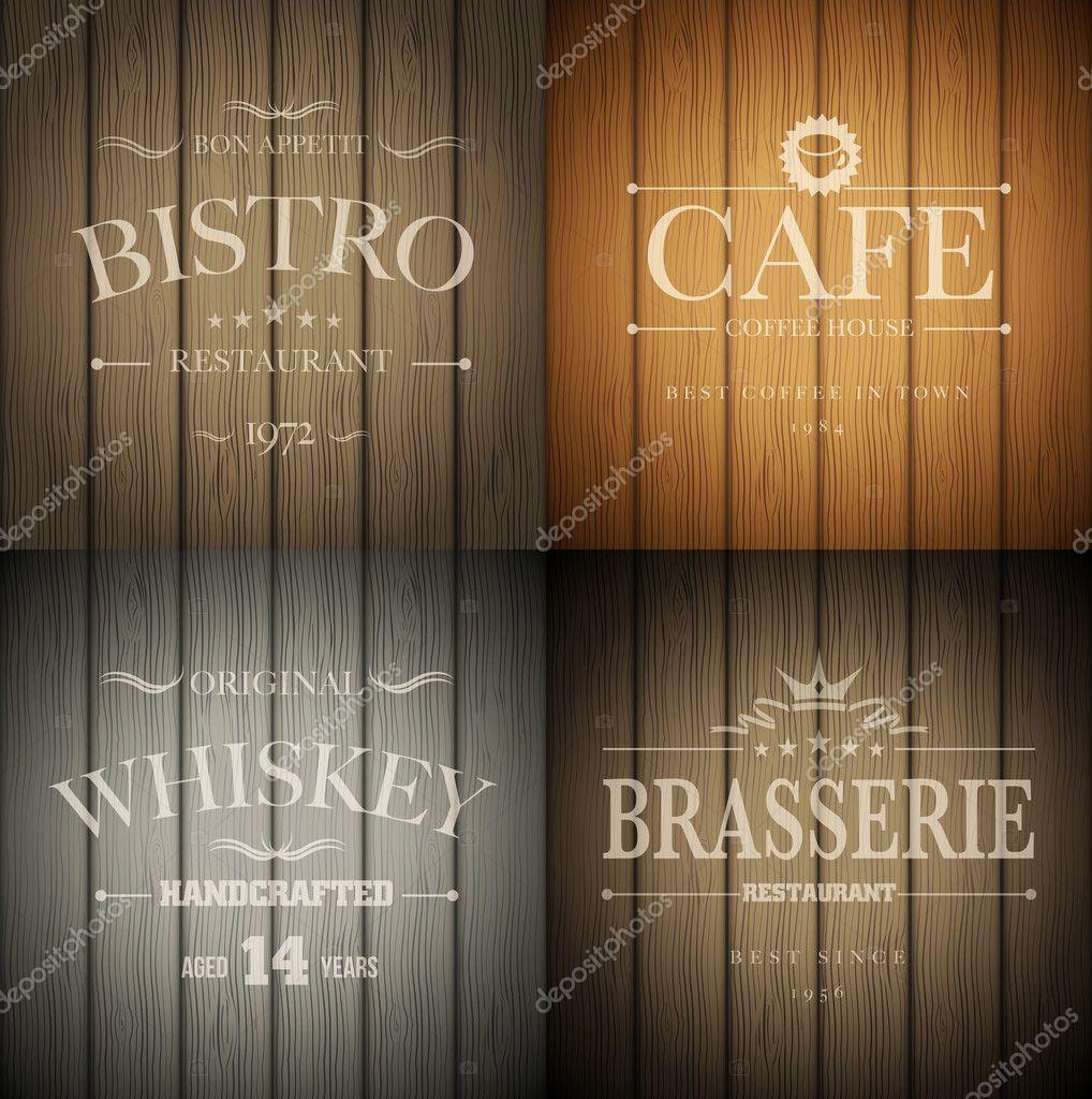 Emblems on wood texture